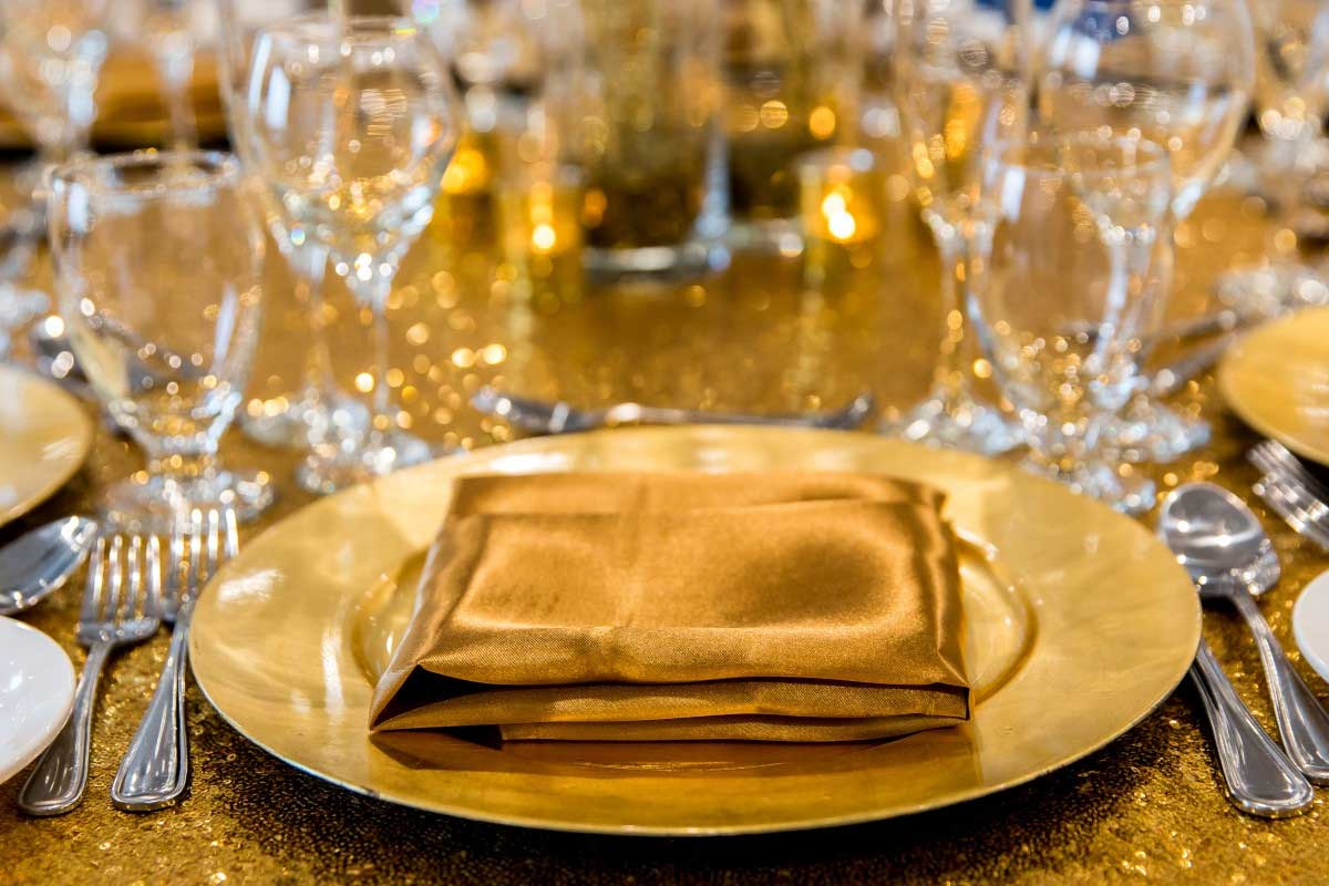 Wedding Table Setting in Gold