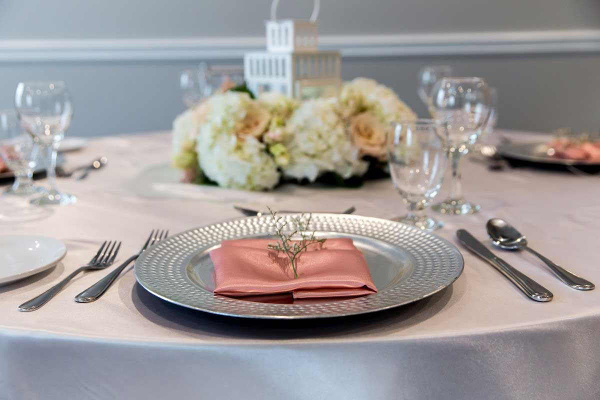 Wedding Table Setting in Pale Pink
