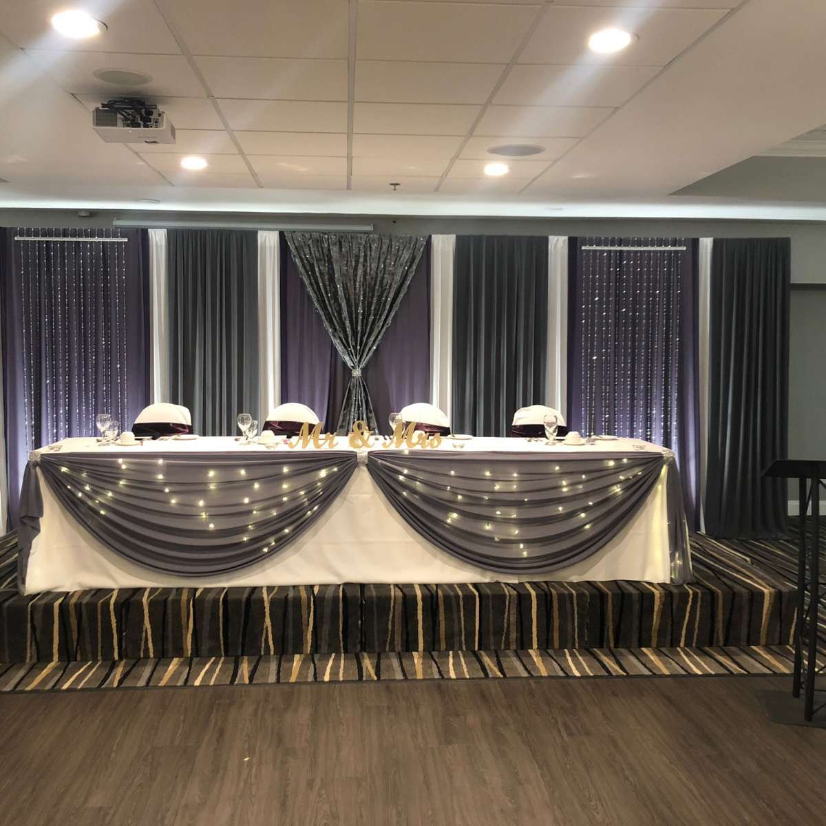 Ballroom - Purple, Gray and Silver Backdrop